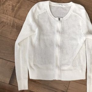Athleta Mesh Zip Sweater White Full Zip L Large